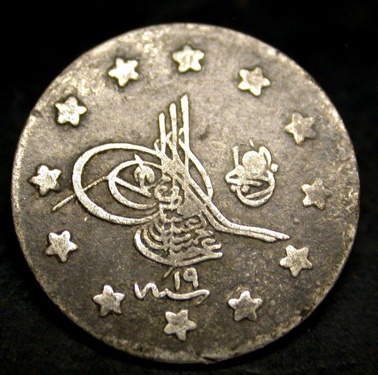 1293 Year 19 Turkey 1 Kurush RARE SILVER Coin SCARCE LOW MINTAGE SILVER COIN!!!
