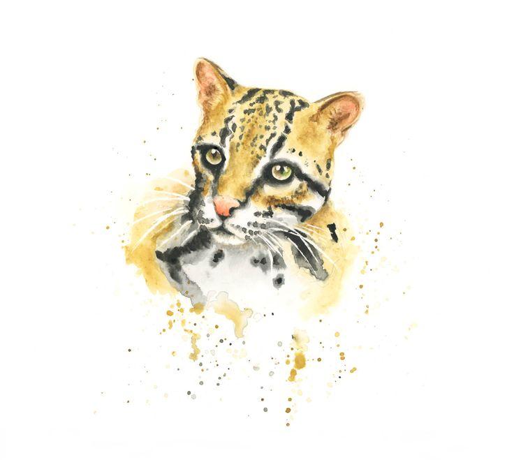 Een mooie Ocelot art print ♥ de Luipaard lovely (dwerg) maakt een schattige toevoeging aan een jungle kinderkamer of dierentuin dier kwekerij thema.  Dit is een afdruk van mijn oorspronkelijke Ocelot aquarel schilderij gedrukt op mooi glad heldere witte archivering kunst papier  Verkrijgbaar in verschillende maten Ook verkrijgbaar in 2 kleinere A5 grootte afdrukken https://www.etsy.com/uk/listing/507359668 Ook verkrijgbaar in 2 kleinere A4 grootte afdrukken https:&#x2...