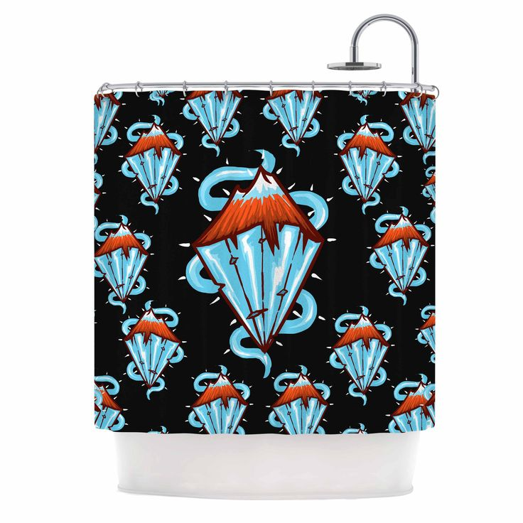 "BarmalisiRTB ""Diamond Mountain"" Orange Blue Shower Curtain"