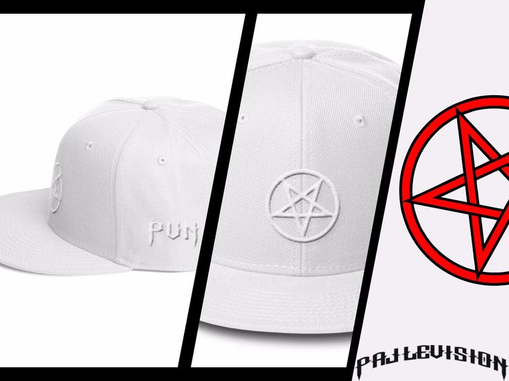 SNOW WHITE  3D embroidered pentagram on a Otto Cap Wool Blend Snapback, Jack. #pallevision #mensfashion #womensfashion #unisex #darkside #evil #pentagram #snapback #cap #hats #ottocap #3Dembroidered #embroidery