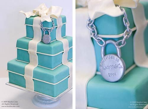 TIFFANY BLUE WEDDING CAKES | three tier tiffany blue wedding cake made to look like a gift box cake ...