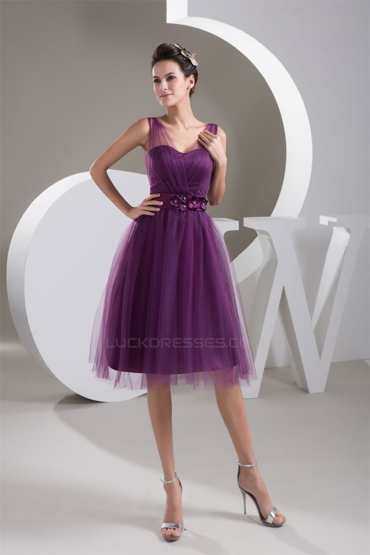 The 25 best short purple bridesmaid dresses ideas on pinterest 9999satin fine netting v neck knee length short purple bridesmaid dresses 02010421 ombrellifo Images