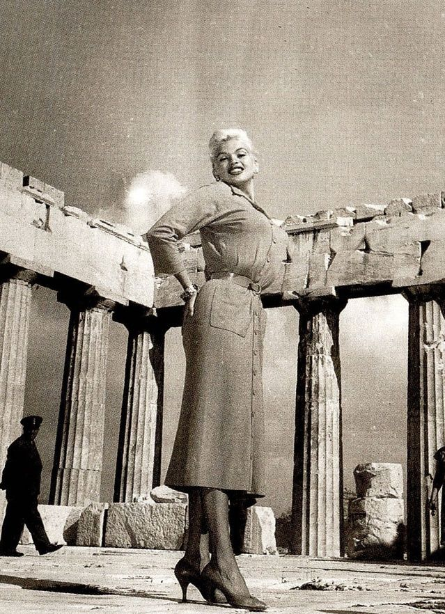 Jayne Mansfield at the Acropolis ~ 1957 #solebike, #Athens, #e-bike tours