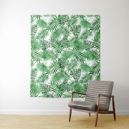 Tropical Green Palm Leaves Summer Pattern Tapestry - floral style flower flowers stylish diy personalize
