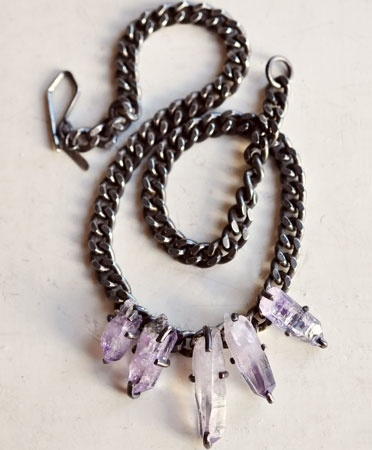 5 amethyst stone necklace