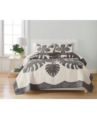 Martha Stewart Collection Maui Medallion Cotton King Quilt, Only at Macy's - Green