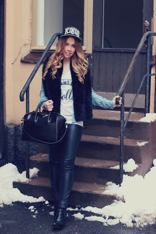leather pants + givenchy bag