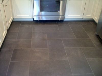 Kitchen floor tile: Slate like ceramic floor - I like the pattern and the size/shape/color