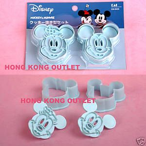 Mickey+Mouse+&+Minnie+Cookie+Cutter+Mold+++Stamp+A03