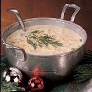 Northwest Salmon Chowder Recipe ~ easy to prep and just a lovely taste. I made this soup for our New Year's evening dinner. I cooked it hours before and added fresh salmon when I heated the soup in the evening. I used whipping cream instead of half and half and added a bit of nutmeg. The fresh dill is making the dish for me perfect,