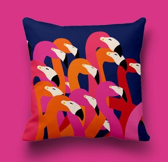 Flamingos pillow cover, Decorative pillow, Cushion cover, Throw pillow cover, Coutch pillow cover, Animal pillow, Accent pillow cover