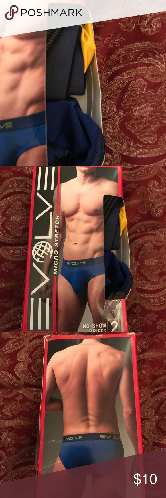 """Men's Evolve by 2xist No Show Briefs Underwear 2pk Men's Evolve by 2xist No Show Briefs Underwear....2pk......Size Large.....box had been opened but they are brand new.....Size Large....fits waist 36"""" to 38"""" inches....smoke and pet free home. 2xist Underwear & Socks Briefs"""