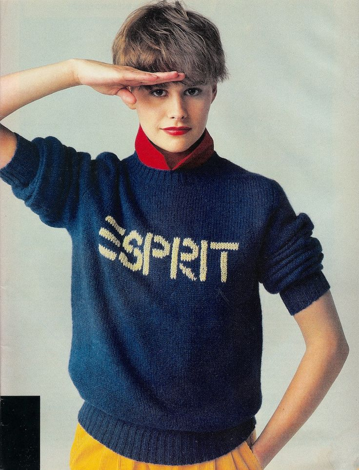 Vintage Esprit Clothing ad from the 80's, blue sweater, red shirt, yellow pants