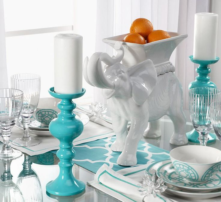 White with a hint of Turquoise.Decor, Tables Sets, Turquoise, Dining Room Tables, Colors, Candle Holders, Candles Holders, Turquois Tables, White Elephant