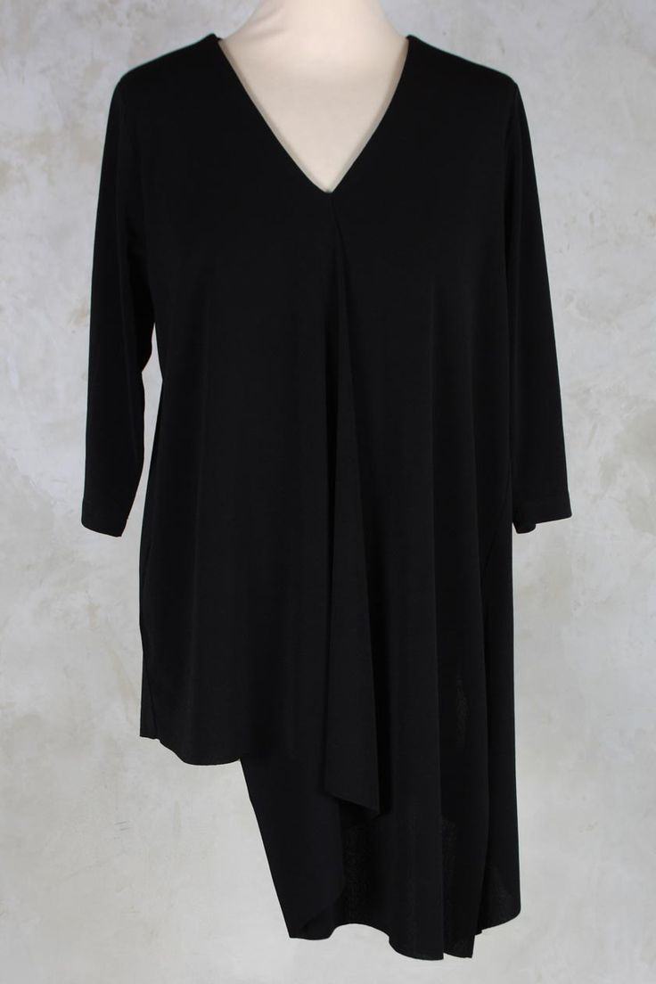 Tunic with Draped Front in Black - Crea Concept
