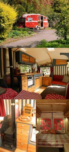 trailers, campers, glampers • Bill and Becky Goddard make these beautiful houses out of old cars. They now have an Organization called Rustic Campers in Herefordshire, England.