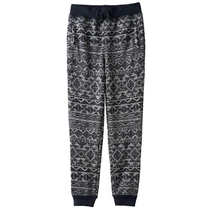 Boys 8-20 Hollywood Jeans Sweater-Print Fleece Jogger Pants, Size: Xl(18/20), Black