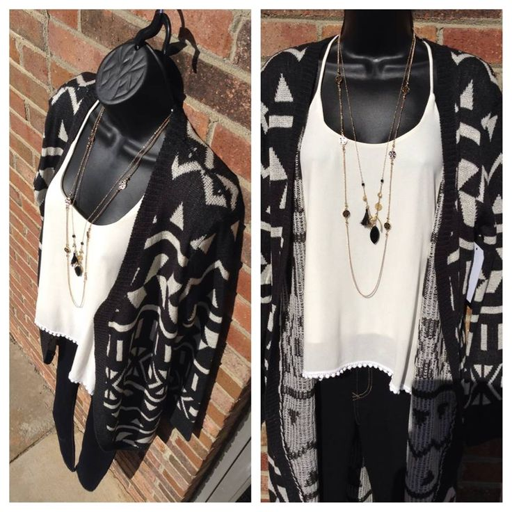 Cute, Stylish, and Comfortable. This long Black and ivory print cardigan $49.99, paired with a crochet trim tank by Karlie Clothes $59.99, and some skinny jeans by Dear John Denim is perfect to wear in this cool crisp air! Come by and see us from 10-6 pm today! OR Shop Online! www.annalaurasboutique.com