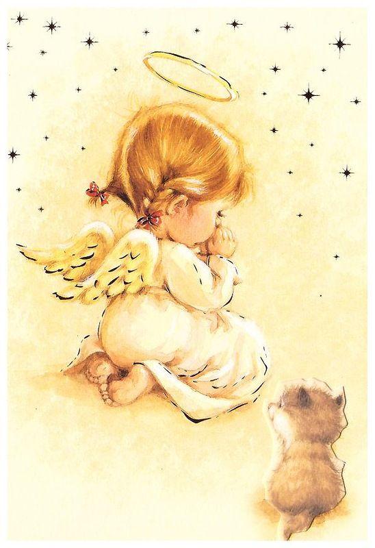 Рисунки ангелочков на открытках