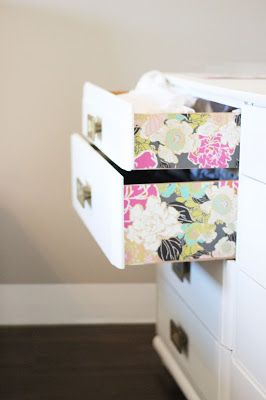 For a bit of style in the bedroom, wallpaper on the exterior of drawers sounds like a great way to bring a smile to my face in the morning!