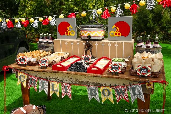 Our trays and baskets aren't just for home decor. We've used them to add color and function to our tailgating buffet.