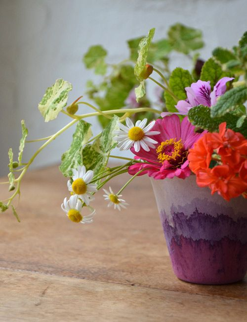 tie-dyed cup. biodegradable cups dyed by hand. Really pretty.: Craft, Design Sponge, Flower Pots, Garden, Diy, Dips, Flowerpot, Dyes, Dip Dye