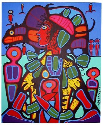 Norval Morrisseau - was a Ojibway/Anishinaabe artist from Canada. Can't say I knew of any Native American/indigenous American artists until last year (except for one)