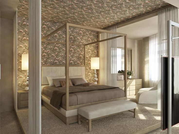 Charmant Awesome Flowery Wall Decal Completing Stunning Bedroom With King Size Canopy  Bed And Grey Bench   New House   Pinterest   King Size Canopy Bed, ...