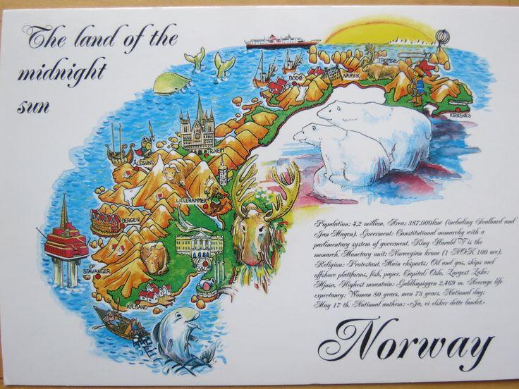 Norway Venabygdsfjellet Postcards For Swap Pinterest - Norway map cartoon