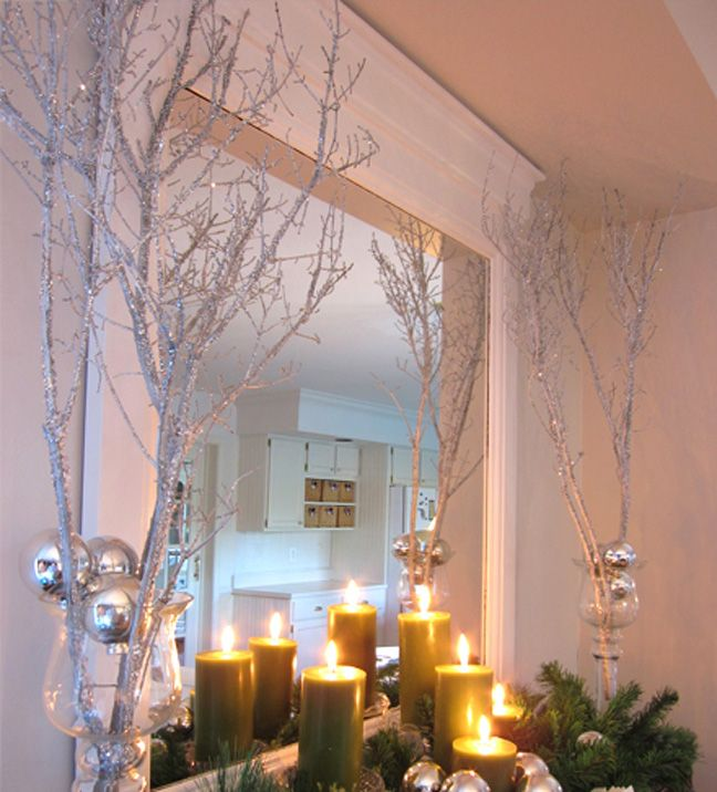 Sparkly branches make a big impact on holiday decor. I've seen them flipping through holiday catalogs, and if you buy them pre-finished at a craft or home store, the price is outlandishly hilarious for what you're getting.