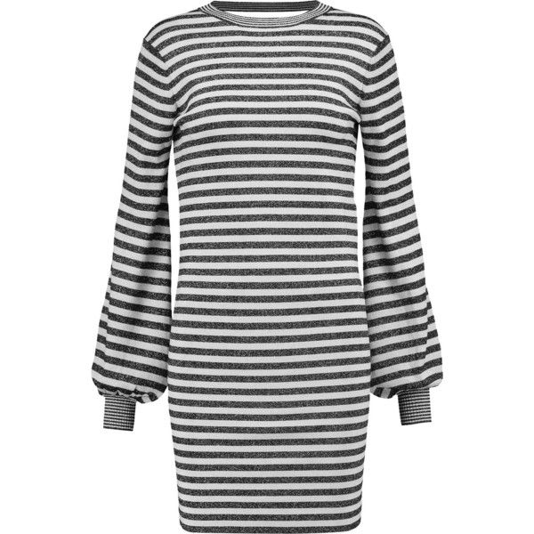 Maje - Metallic Striped Stretch-knit Mini Dress ($188) ❤ liked on Polyvore featuring dresses, grey, stripe dress, metallic dress, grey dresses, grey stripe dress and metallic short dress