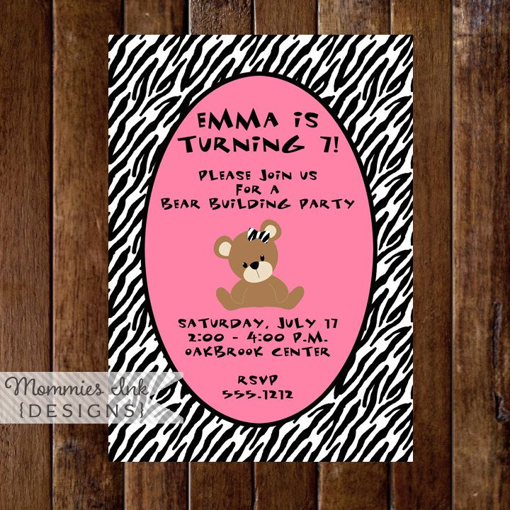 Teddy Bear with Zebra Print Birthday Party Invitation, Teddy Bear Invitation, Bear Invite, Teddy Invite, Stuffed Animal Party Invite by MommiesInk on Etsy https://www.etsy.com/listing/59526468/teddy-bear-with-zebra-print-birthday
