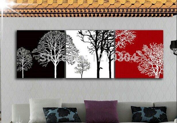 На Продажу ручной современные красный и черный абстрактные деревья картины маслом искусства дешево картина маслом на холсте 3 шт./компл. бесплатная доставка