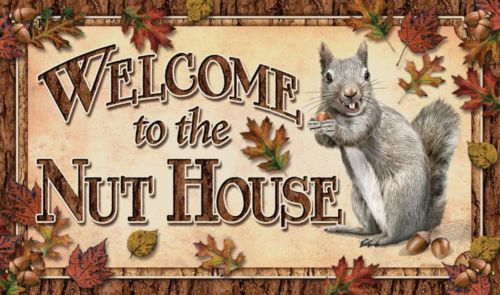 Door Mat Rug Welcome To The Nut House #Squirrel #Humor #Funny Rivers Edge Nature #RiversEdge #Country