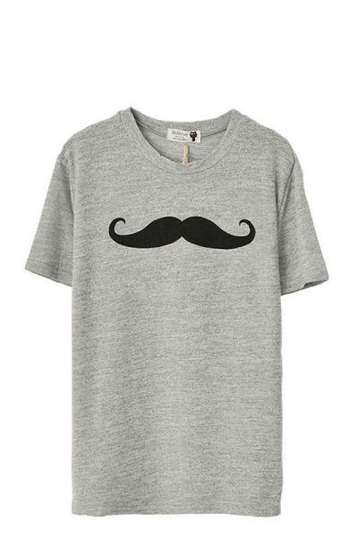 Mustache Print Short Sleeve T-shirt by: Oasap