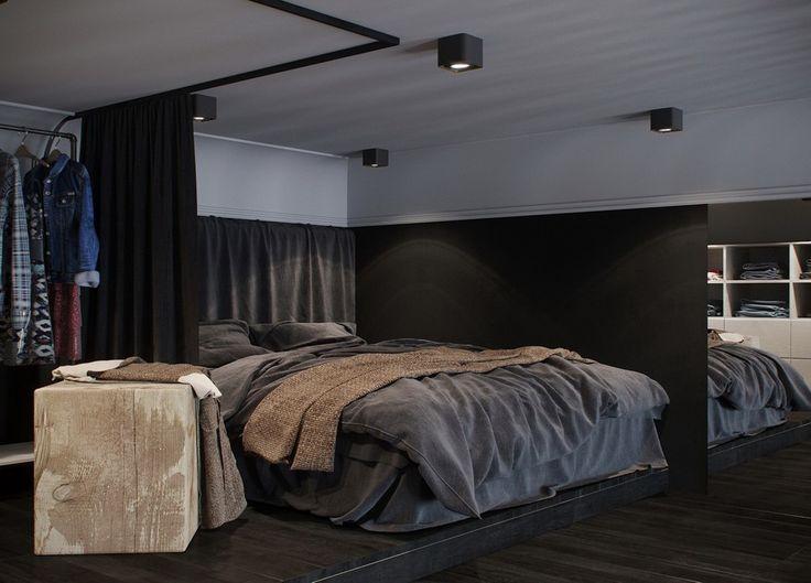 Small black and white loft by Max Lykasov & Tatiana Shishkina