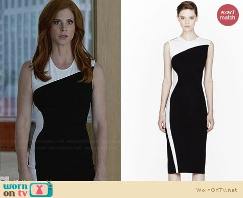 Donna's black and white colorblock dress on Suits.  Outfit Details: http://wornontv.net/30220/ #Suits