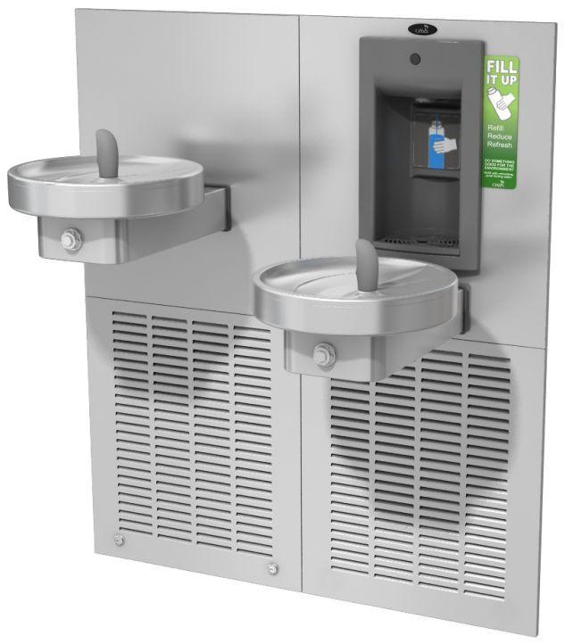 """Питьевой комплекс M8CRSBFY: """"Врезной"""" аппарат для наполнения бутылок с механической активацией и круглый питьевой фонтанчик"""