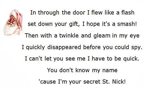 Secret Santa Poems, Clever Sayings: