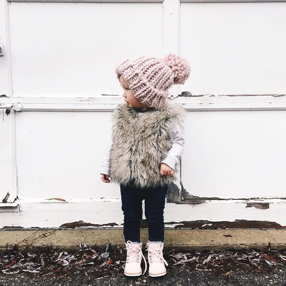 mini fashionista -- so cute in that faux fur vest!