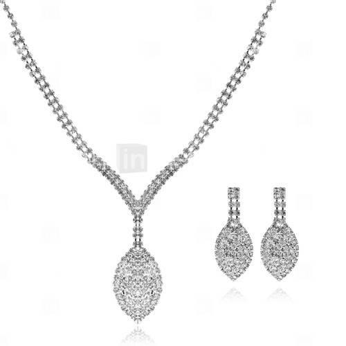 brilhando czech strass banhado em liga de casamento conjunto de jóias de noiva, incluindo colar e brincos