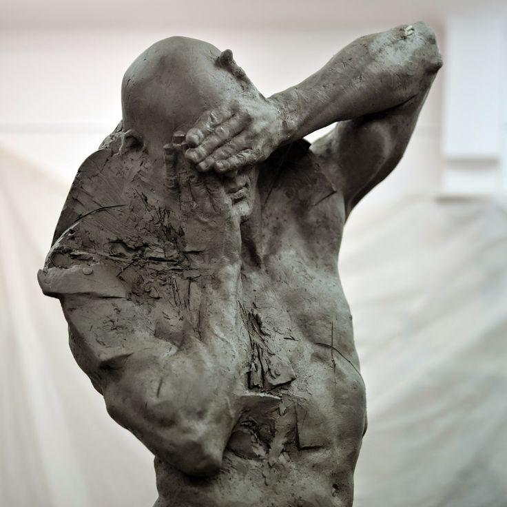 """Grzegorz Gwiazda : """"shamefaced"""" bronze, 200cm, 2015,"""