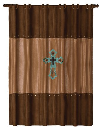 Las Cruces turquoise cross shower curtain