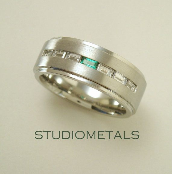 Men's Wedding Band, Diamond and Emerald Men's Ring, R119 on Etsy, $3,510.00 CAD