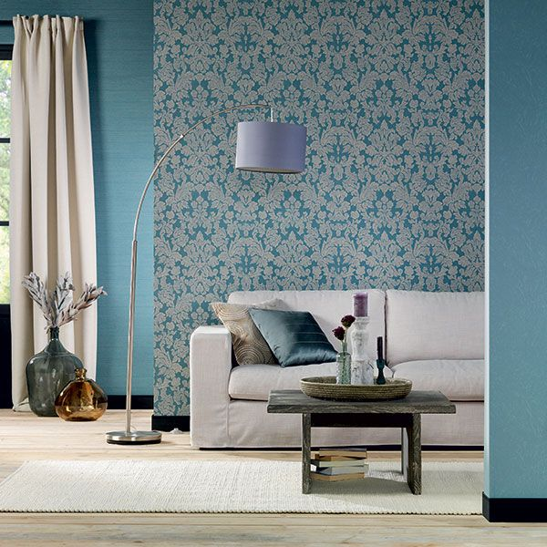 Love the colour palette in this room, the teal blues and neutral beige looks great! Belleville Wallpaper Collection by Galerie - 441444R