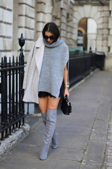 Blogger Penny and Polaroids wears a roll neck poncho knit with grey coat and knee high boots #AW14 #streetstyle