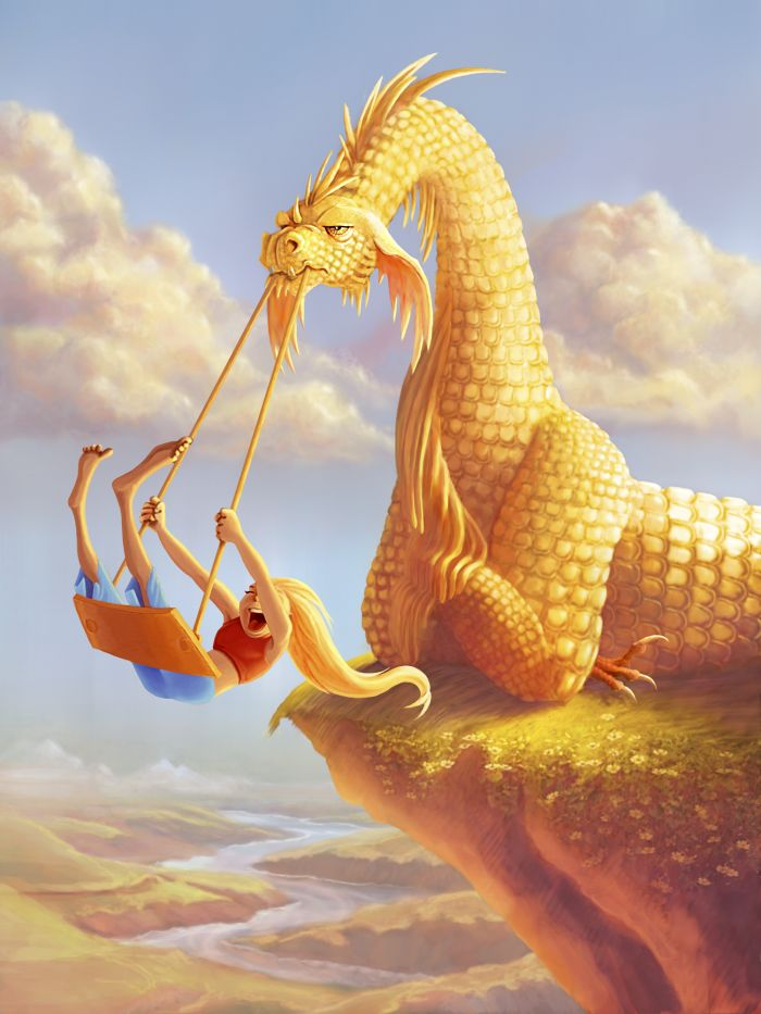 Dragon Swing by Kathryn Noble - That golden dragon does not look amused.