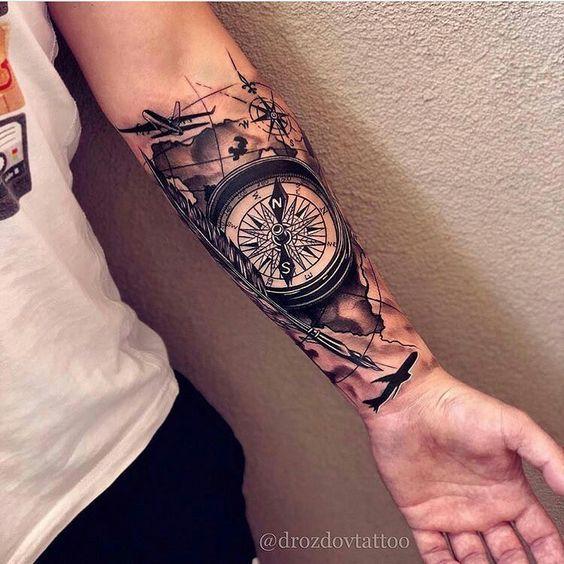 Handgelenk-Tätowierung, Kompass-Tätowierung, Handgelenk-Kompass-Tätowierung, Handgelenkabdeckung #handgelenk #kompass #tatowierung