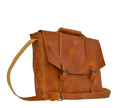 Aged leather work bag