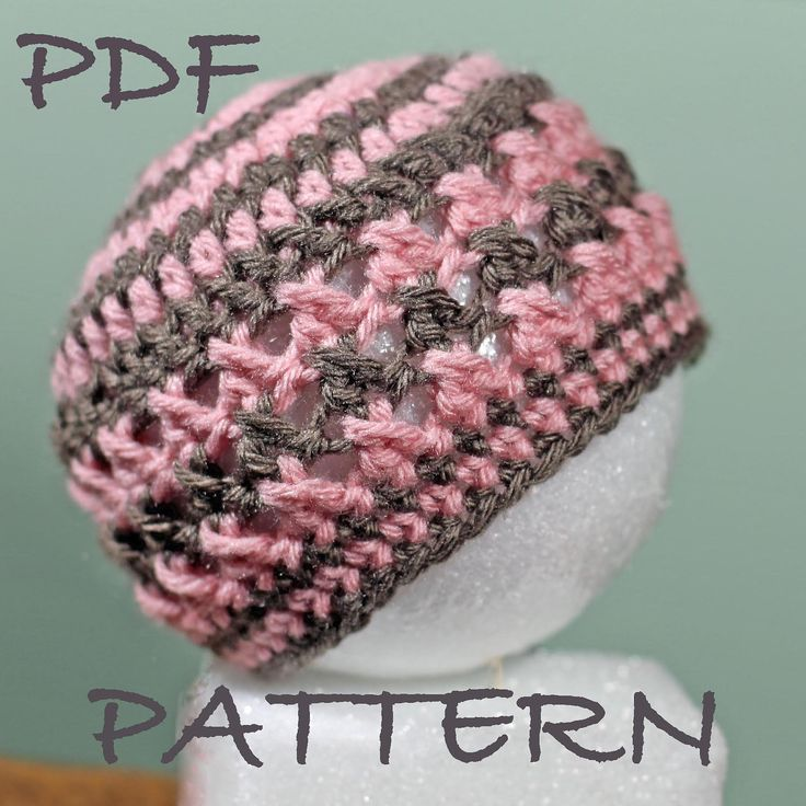 Crochet Baby Hat Pattern - Size 0 to Adult  - Versatile Textured Cross Hat Pattern - See pictures for versatility. $4.95 CAD, via Etsy.